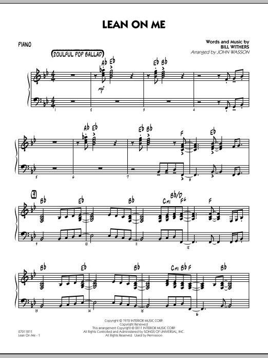Lean On Me - Piano (Jazz Ensemble)