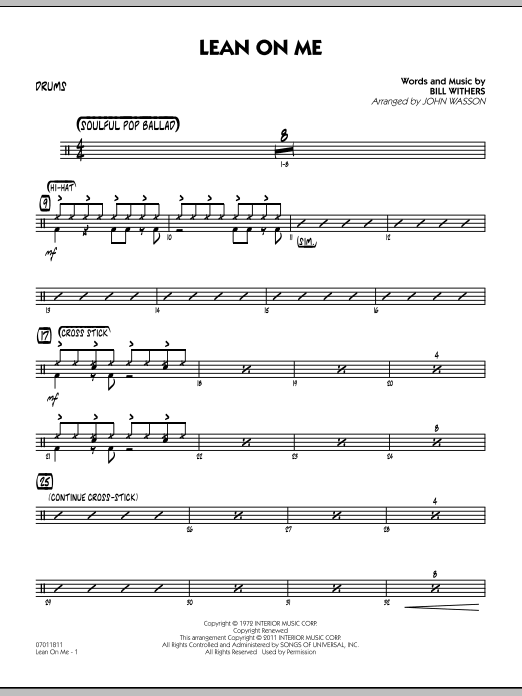 Lean On Me - Drums (Jazz Ensemble)