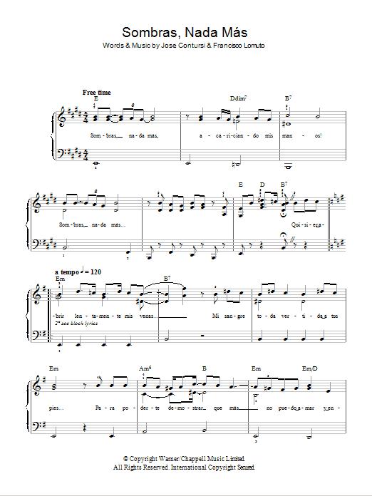 Sombras Nada Mas Sheet Music