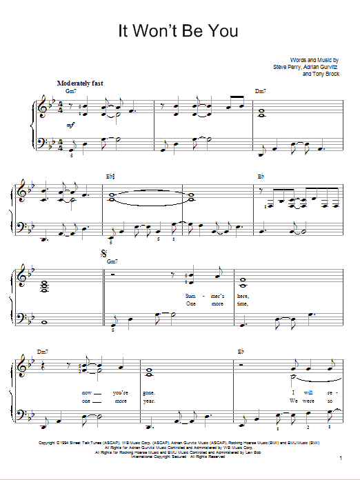 It Won't Be You Sheet Music