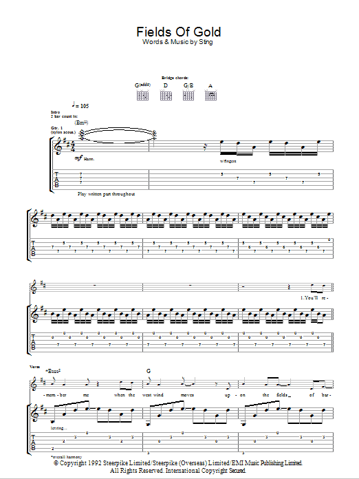 Sheet Music Digital Files To Print Licensed Sting Digital