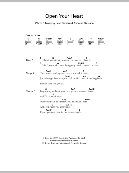 Open Your Heart by Westlife - Guitar Chords/Lyrics - Guitar Instructor