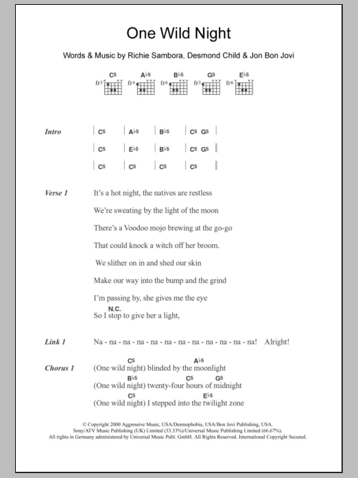 One Wild Night By Bon Jovi Guitar Chordslyrics Guitar Instructor