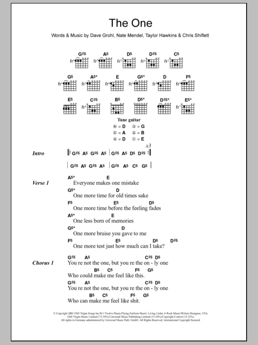 The One By Foo Fighters Guitar Chordslyrics Guitar Instructor