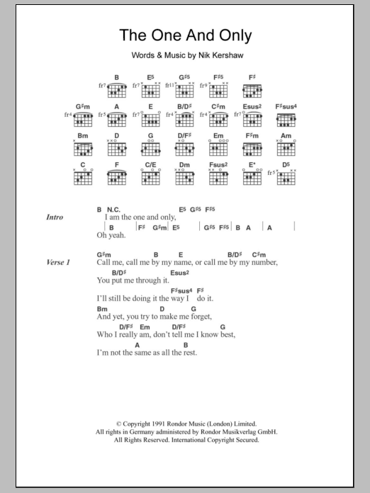 The One And Only Sheet Music