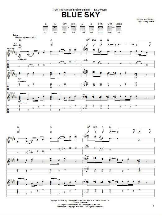 Blue Sky (Guitar Tab)