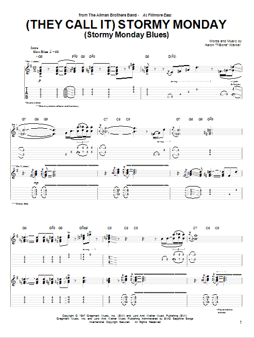 Tablature guitare (They Call It) Stormy Monday (Stormy Monday Blues) de The Allman Brothers Band - Tablature Guitare