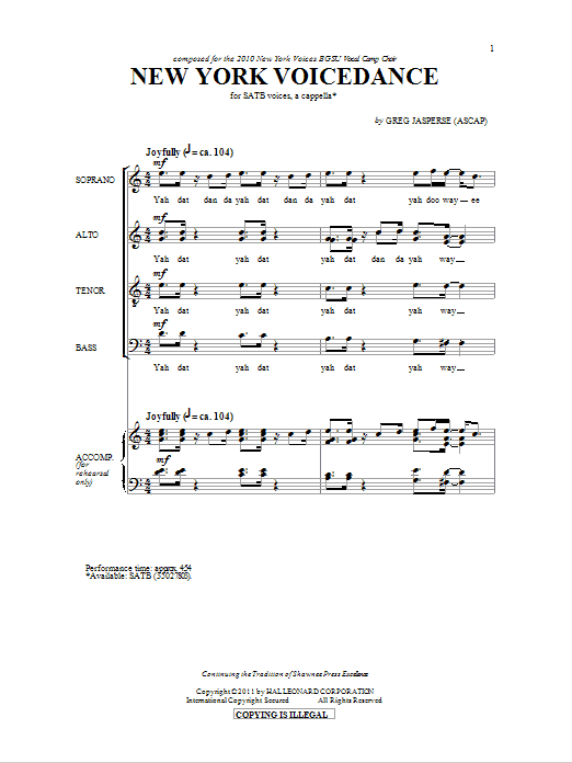 Partition chorale NY Voicedance de Greg Jasperse - SATB