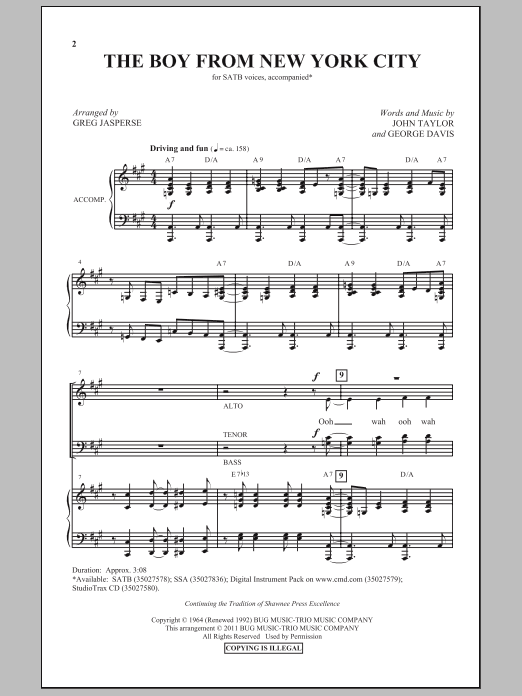 The Boy From New York City Sheet Music