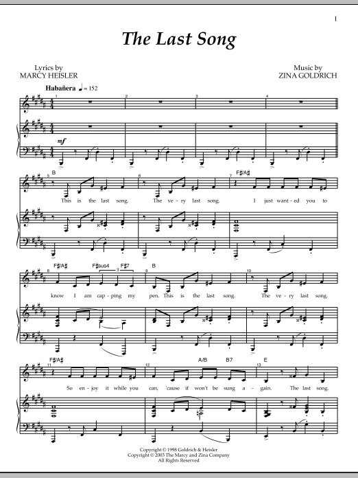 The Last Song Sheet Music