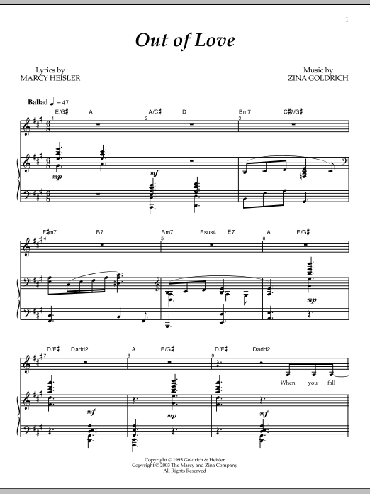 Out Of Love Sheet Music