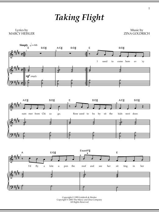 Partition piano Taking Flight de Goldrich & Heisler - Piano Voix