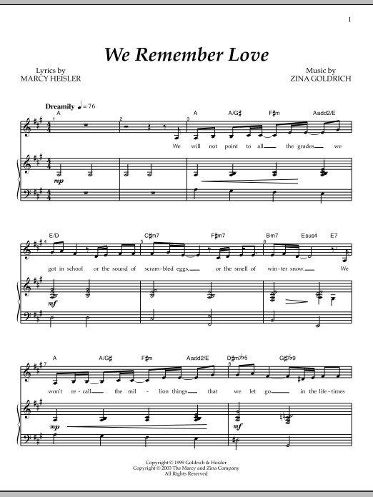 We Remember Love Sheet Music