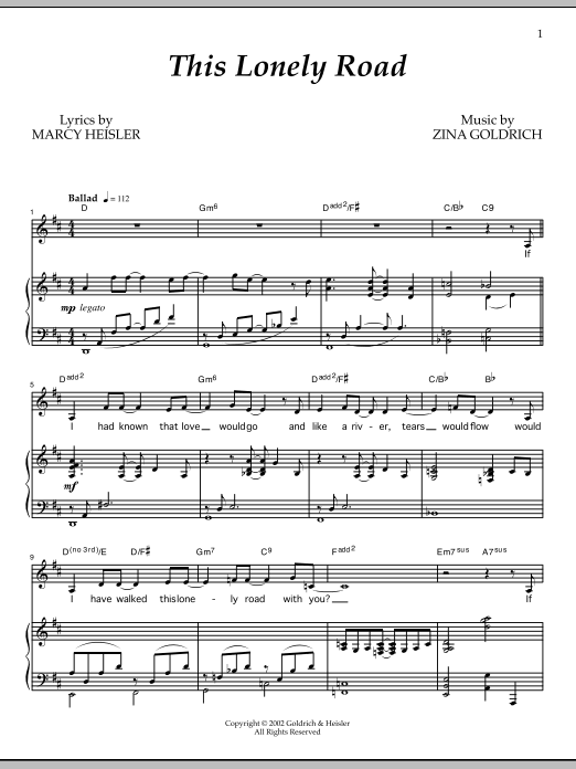 This Lonely Road Sheet Music