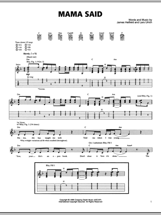 Tablature guitare Mama Said de Metallica - Tablature Guitare