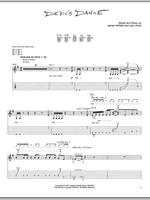 Tablature guitare Devil's Dance de Metallica - Tablature Guitare