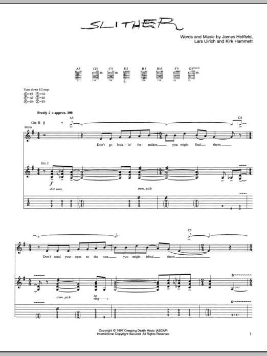 Tablature guitare Slither de Metallica - Tablature Guitare