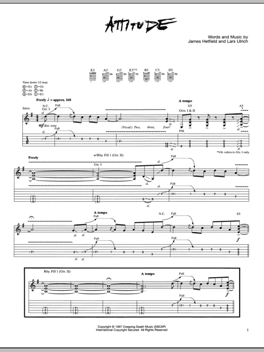 Tablature guitare Attitude de Metallica - Tablature Guitare