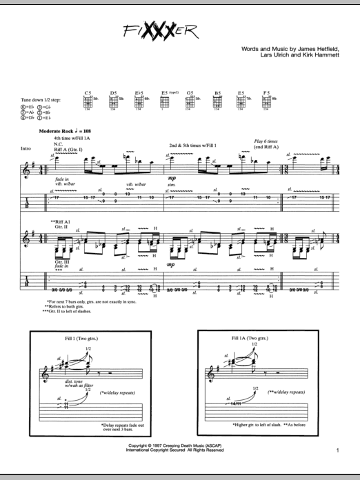 Tablature guitare Fixxxer de Metallica - Tablature Guitare