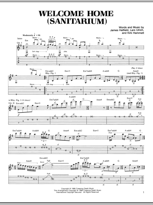 Welcome Home (Sanitarium) Sheet Music