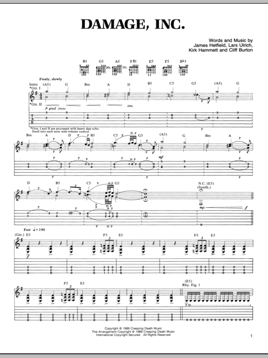 Damage, Inc. Sheet Music