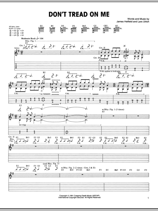 Don't Tread On Me (Guitar Tab)
