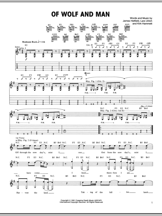 Tablature guitare Of Wolf And Man de Metallica - Tablature Guitare