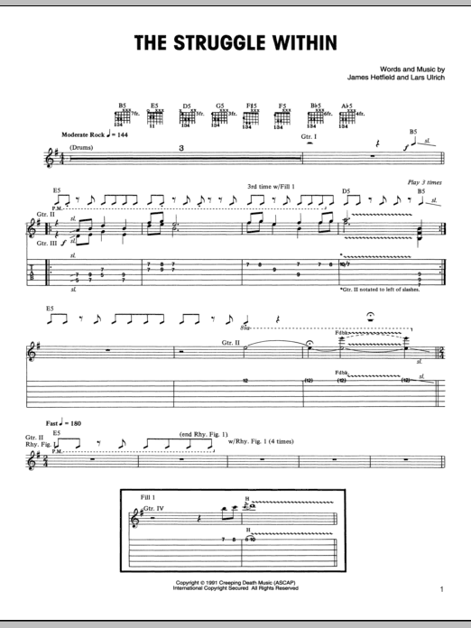 Tablature guitare The Struggle Within de Metallica - Tablature Guitare