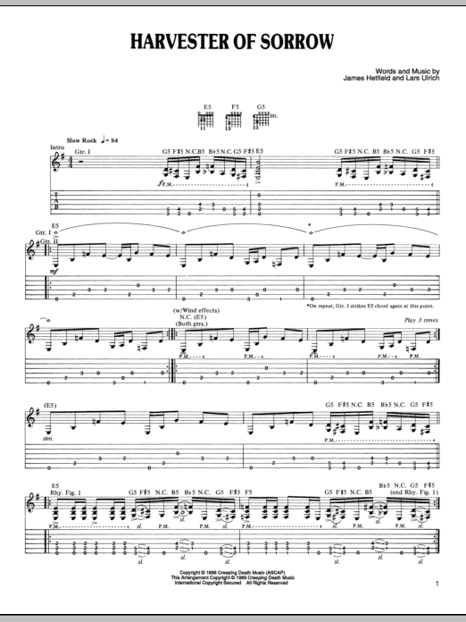 Harvester Of Sorrow | Sheet Music Direct