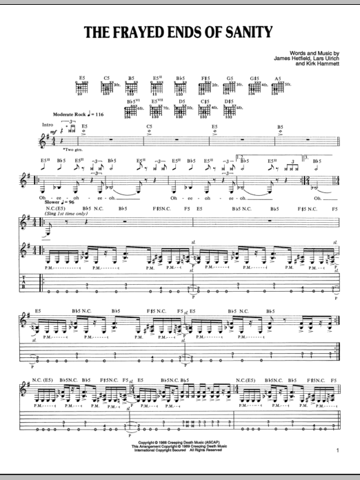 The Frayed Ends Of Sanity Sheet Music