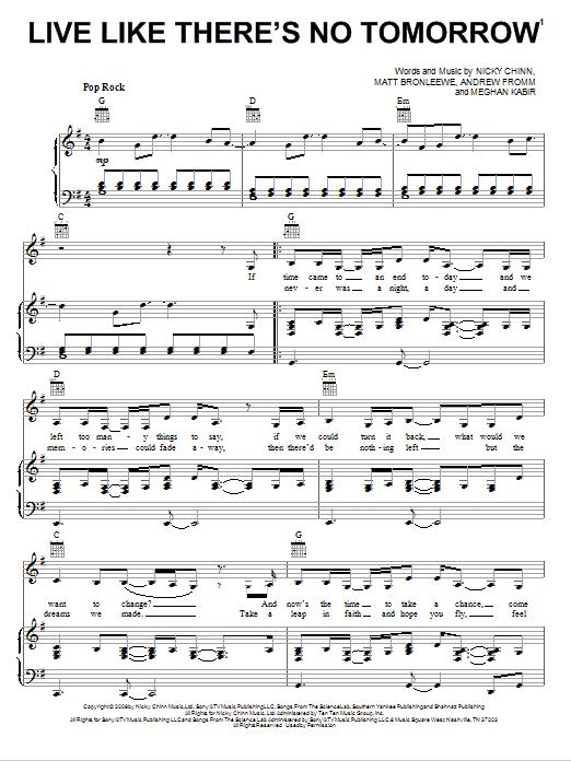 Partition piano Live Like There's No Tomorrow de Selena Gomez & The Scene - Piano Voix Guitare (Mélodie Main Droite)