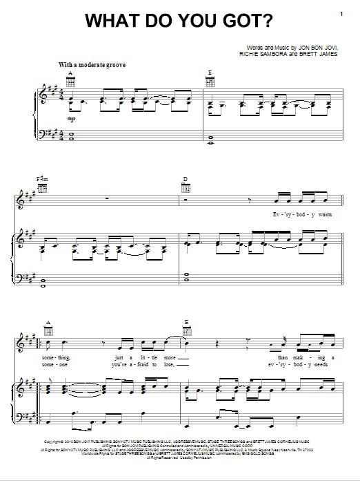 Partition piano What Do You Got? de Bon Jovi - Piano Voix Guitare (Mélodie Main Droite)