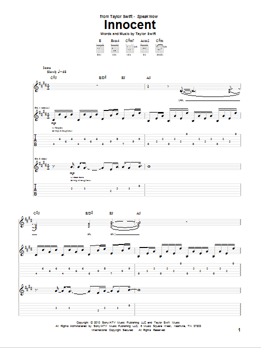 Tablature guitare Innocent de Taylor Swift - Tablature Guitare