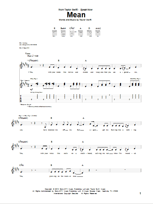 Tablature guitare Mean de Taylor Swift - Tablature Guitare