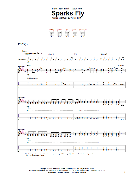 Tablature guitare Sparks Fly de Taylor Swift - Tablature Guitare