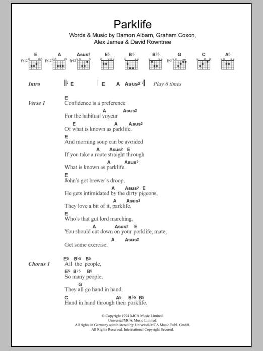 Parklife By Blur Guitar Chordslyrics Guitar Instructor