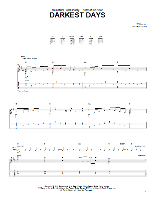 Darkest Days Sheet Music