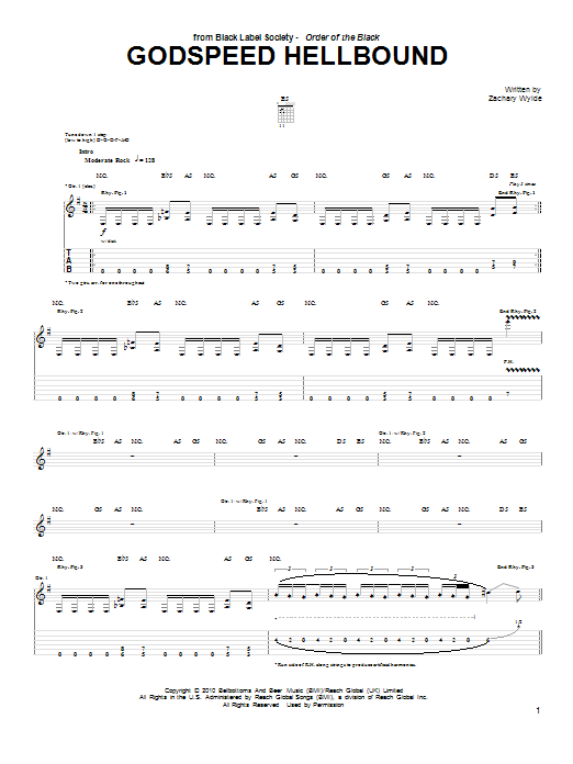 Godspeed Hellbound Sheet Music