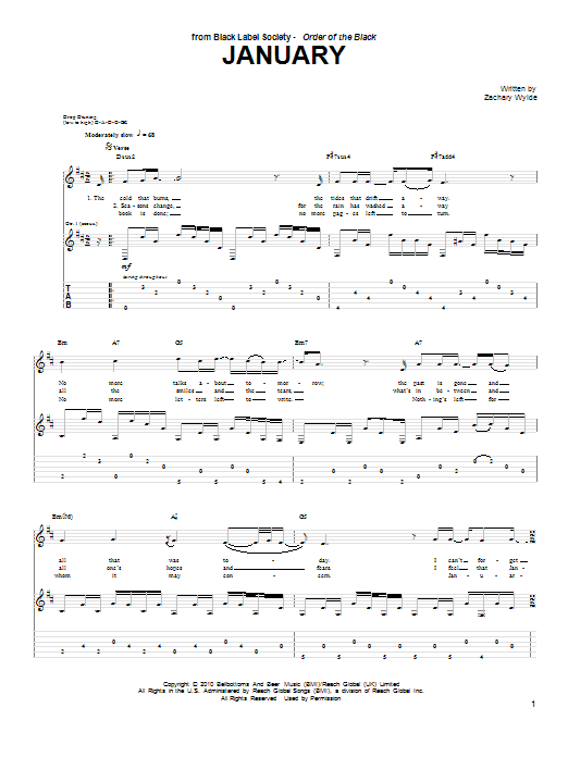 January (Guitar Tab)