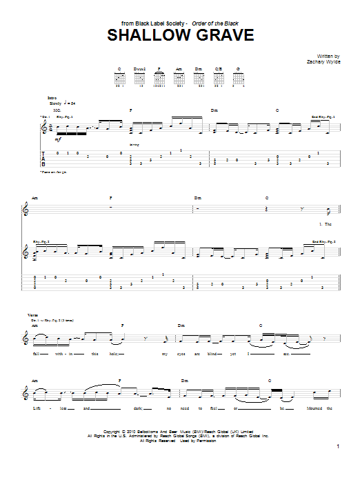 Tablature guitare Shallow Grave de Black Label Society - Tablature Guitare