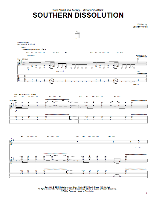 Tablature guitare Southern Dissolution de Black Label Society - Tablature Guitare