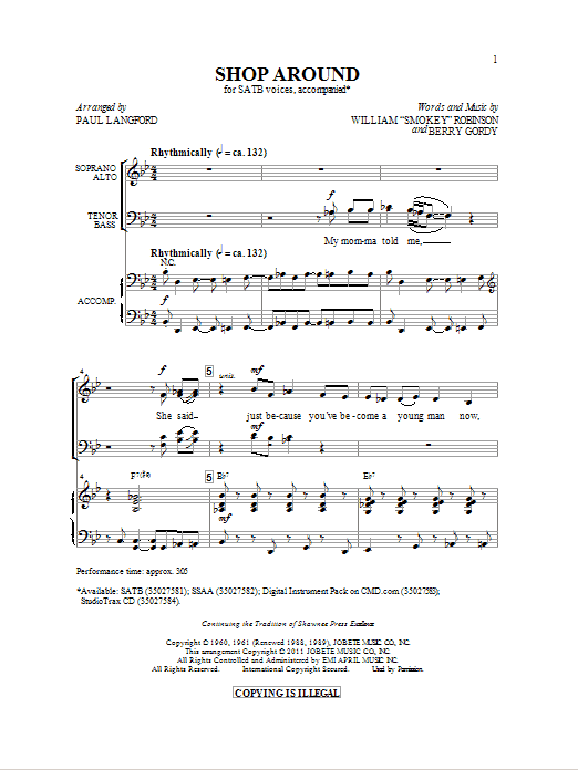 Shop Around (SATB Choir)