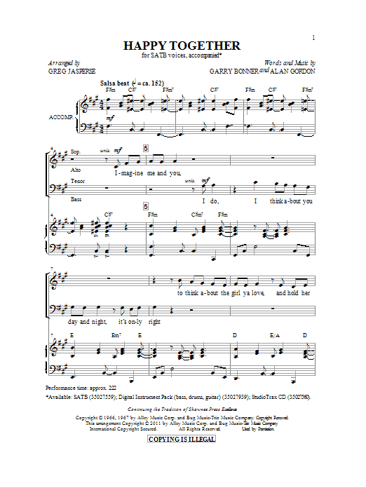 Happy Together Sheet Music