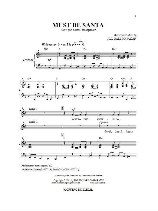 Partition chorale Must Be Santa de Jill Gallina - 2 voix
