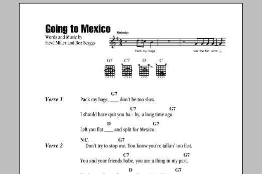 Going To Mexico By Steve Miller Band Guitar Chordslyrics Guitar