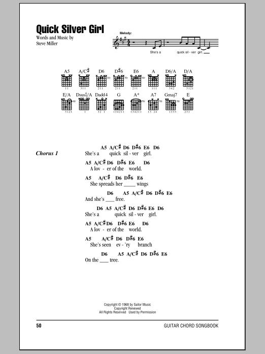 Quick Silver Girl (Guitar Chords/Lyrics)