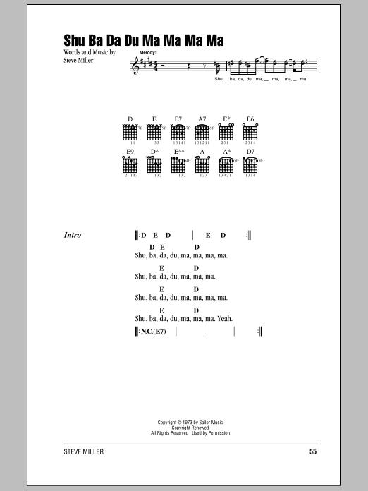 Shu Ba Da Du Ma Ma Ma Ma (Guitar Chords/Lyrics)