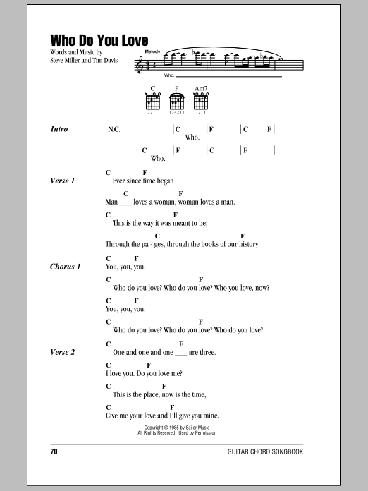Who Do You Love by Steve Miller Band - Guitar Chords/Lyrics - Guitar ...