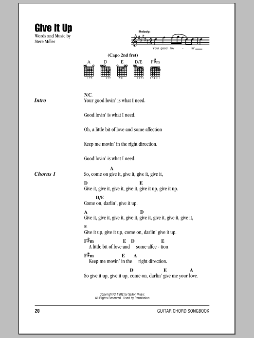 Give It Up (Guitar Chords/Lyrics)