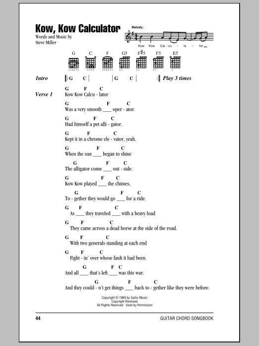 Kow, Kow Calculator (Guitar Chords/Lyrics)